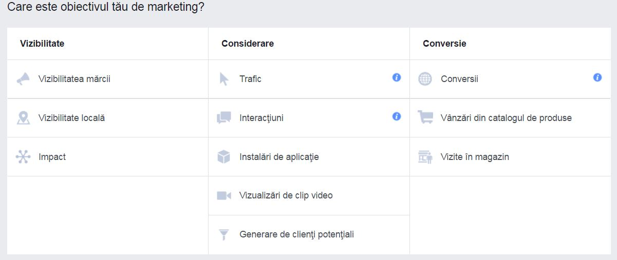obiective reclama facebook